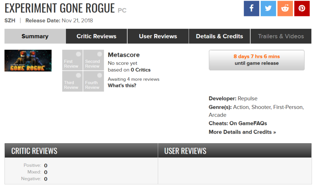 Experiment Gone Rogue Metacritic Page